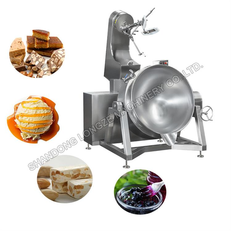Caramel Sauce Stirring Cooking Mixer Machine With Gas Heating Method Tilting Jacketed Kettle