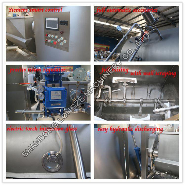 Vacuum Horizontal Cooking Mixer Machine